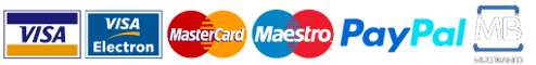 Pay with Visa, Mastercard, Paypal, Visa Electron, Maestro, Multibanco